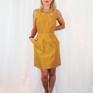 Anthro Maeve Cut Out Chardonnay Sheen Dress